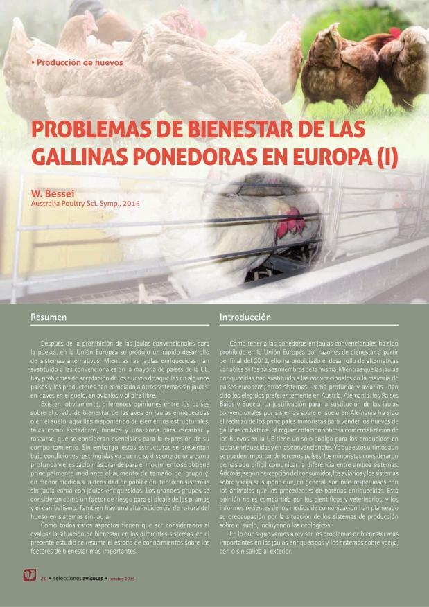 Problemas de bienestar de las gallinas ponedoras en europa (I)