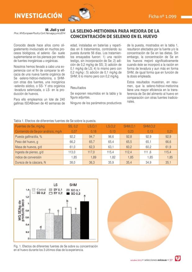 La seleno-metionina para mejora de la concentración de selenio en el huevo