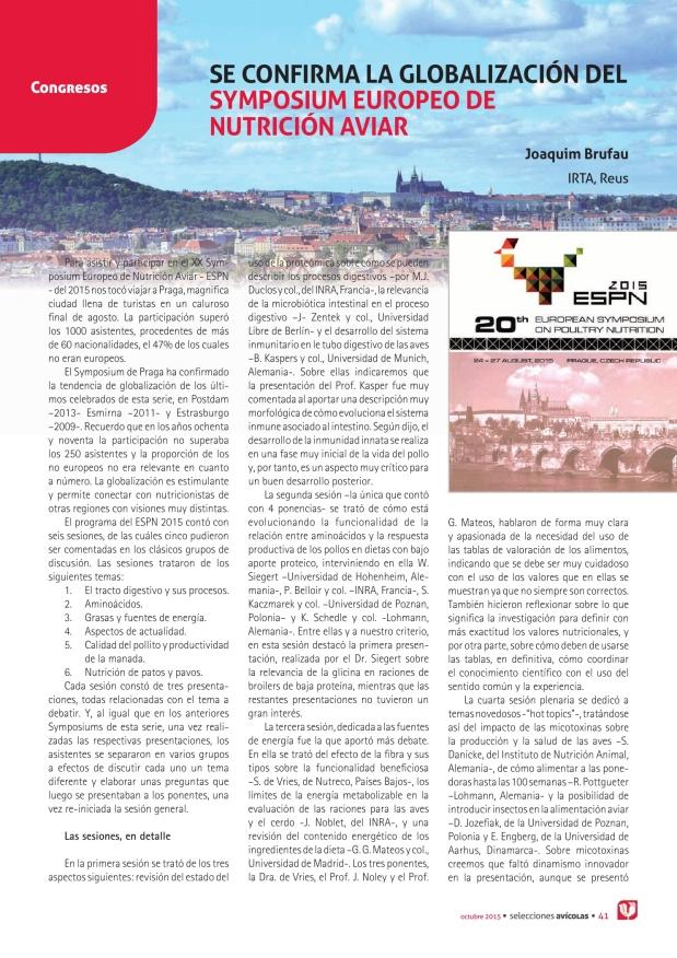 Se confirma la globalización del Symposium Europeo de Nutrición Aviar