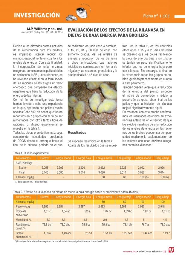 Evaluación de los efectos de la xilanasa en dietas de baja energía para broilers