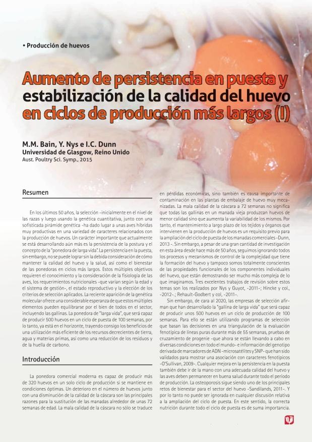 Aumento de persistencia en puesta y estabilización de la calidad del huevo en ciclos de producción más largos (I)