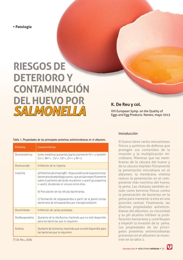 Riesgos de deterioro y contaminación del huevo por Salmonella