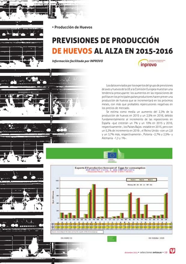 Previsiones de producción de huevos al alza en 2015-2016
