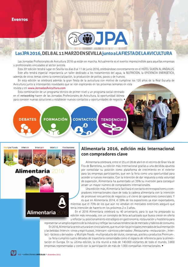 Las JPA 2016, del 8 al 11 Marzo en Sevilla, junto a la Fiesta de la Avicultura