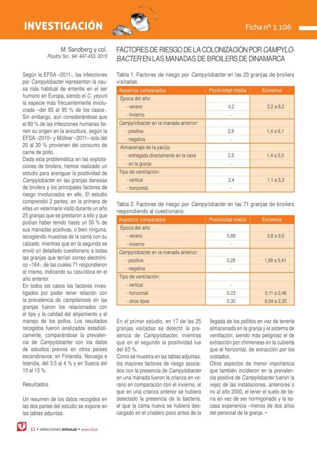 Factores de riesgo de la colonización por campylobacter en las manadas de broilers de dinamarca