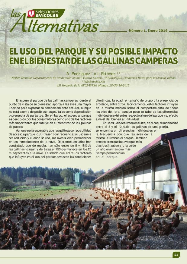 El uso del parque y su posible impacto en el bienestar de las gallinas camperas