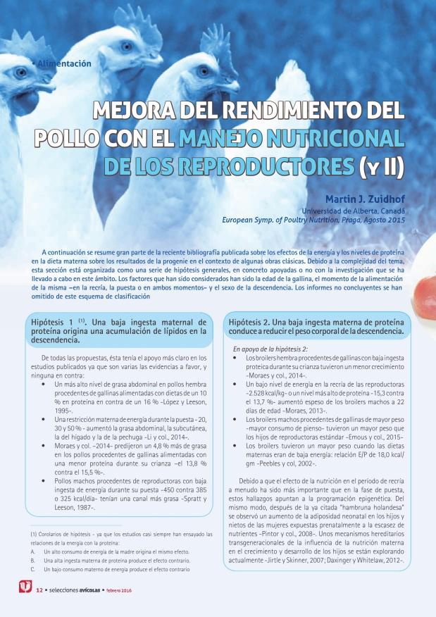 Mejora del rendimiento del pollo con el manejo nutricional de los reproductores (II)