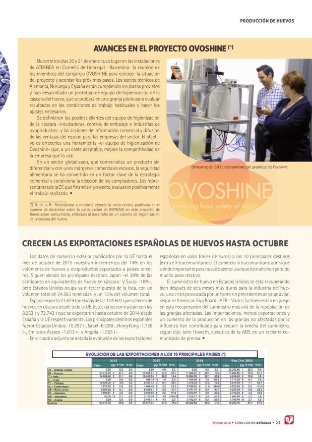 Crecen las exportaciones españolas de huevos hasta octubre