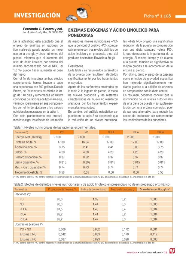 Enzimas exógenas y ácido linoleico para ponedoras
