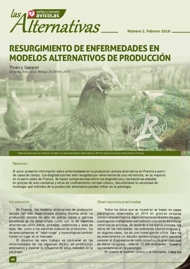 Resurgimiento de enfermedades en modelos alternativos de producción