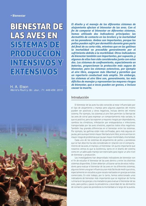 Bienestar de las aves en sistemas de producción intensivos y extensivos