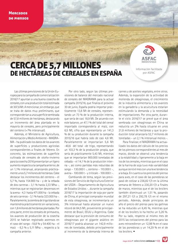 Mercados de piensos - Cerca de 5,7 millones de hectáreas de cereales en España