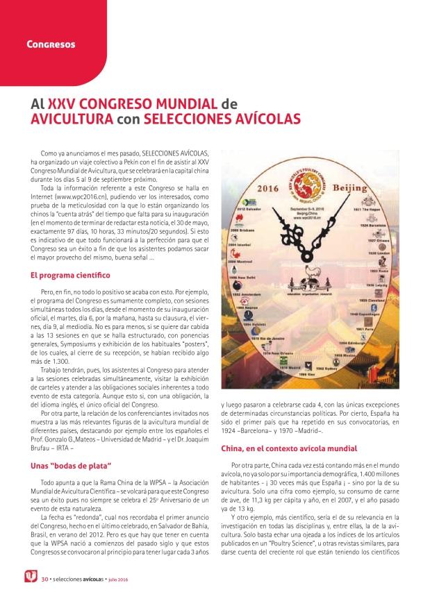 Al XXV Congreso Mundial de Avicultura con Selecciones Avícolas