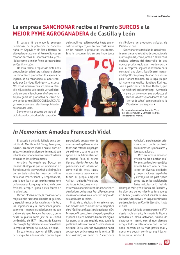 La empresa Sanchonar recibe el Premio Surcos a la mejor PYME agroganadera de Castilla y León