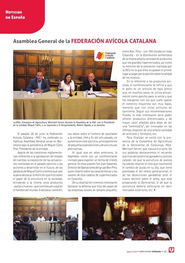 Asamblea General de la Federación Avícola Catalana