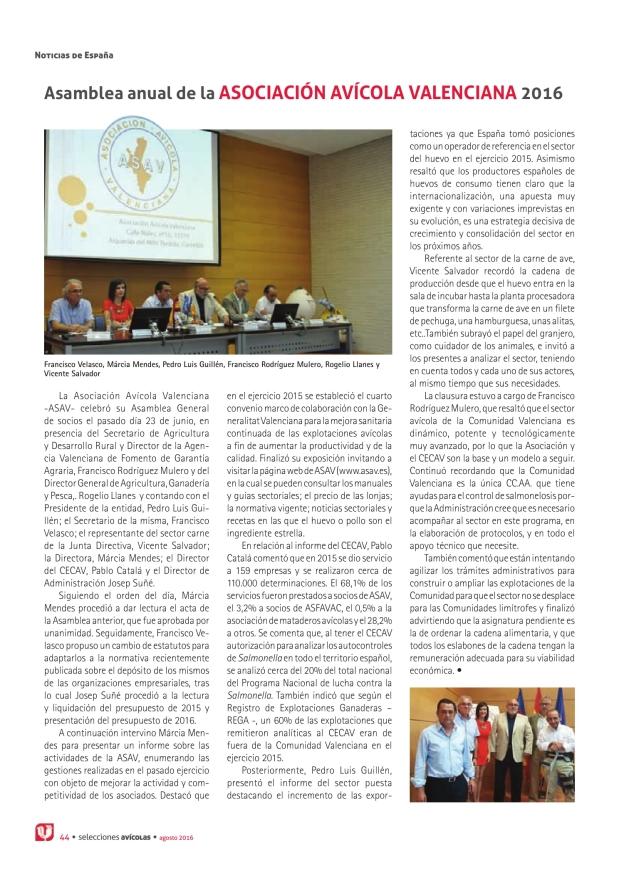 Asamblea anual de la Asociación Avícola Valenciana 2016