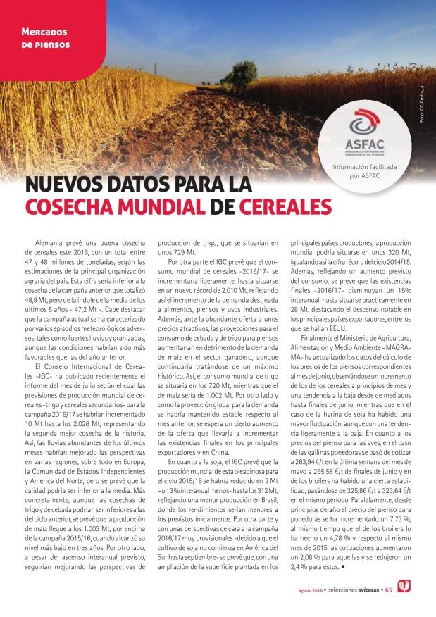 Nuevos datos para la  cosecha mundial de cereales