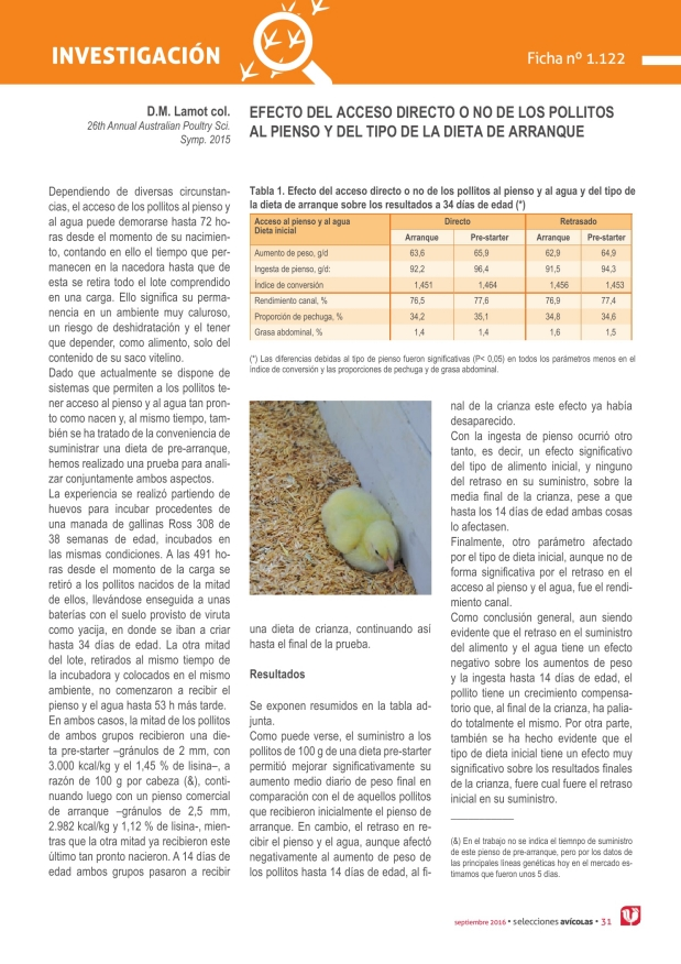 Efecto del acceso directo o no de los pollitos al pienso y del tipo de la dieta de arranque