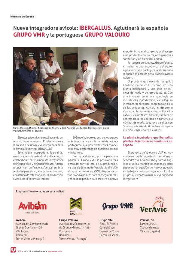 Nueva integradora avícola: IBERGALLUS. Aglutinará la española Grupo VMR y la portuguesa Grupo Valouro
