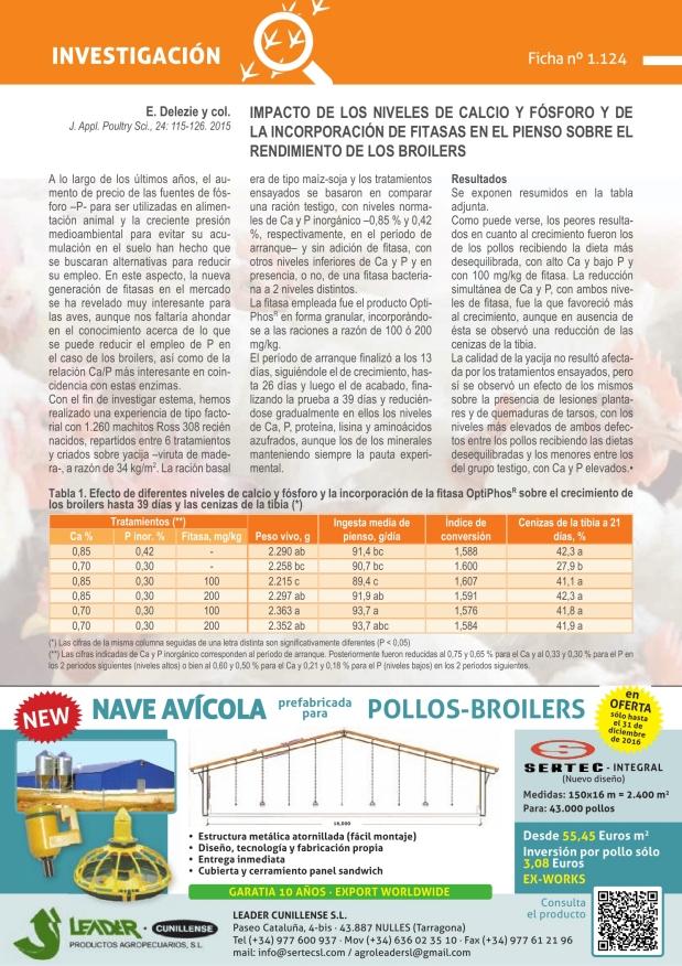 Impacto de los niveles de calcio y fósforo y de la incorporación de fitasas en el pienso sobre el rendimiento de los broilers