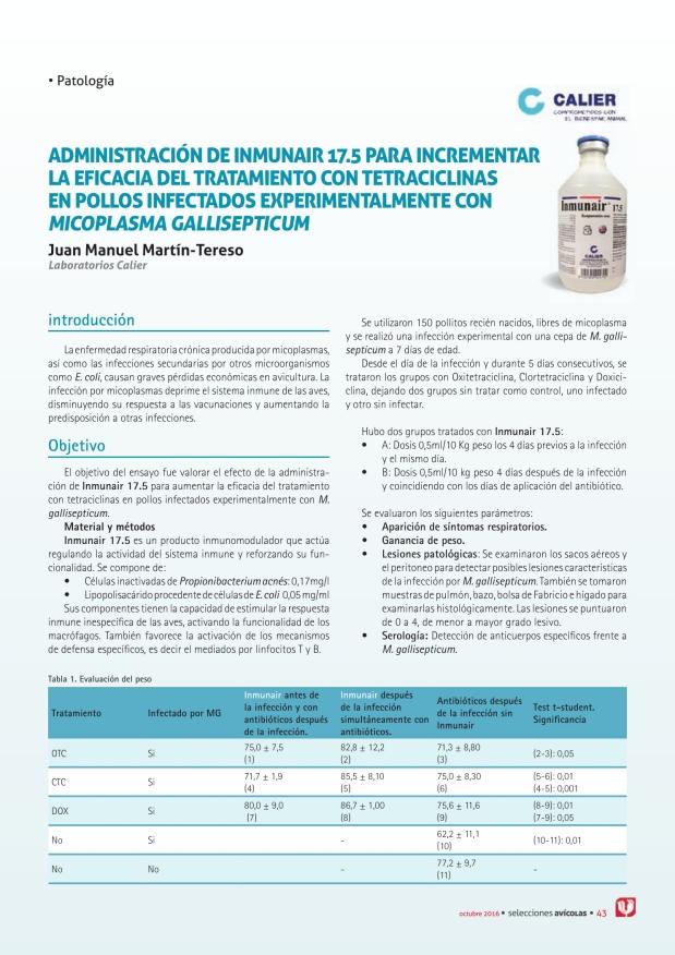 Administración de inmunair 17.5 para incrementar la eficacia del tratamiento con tetraciclinas en pollos infectados Experimentalmente con Micoplasma gallisepticum
