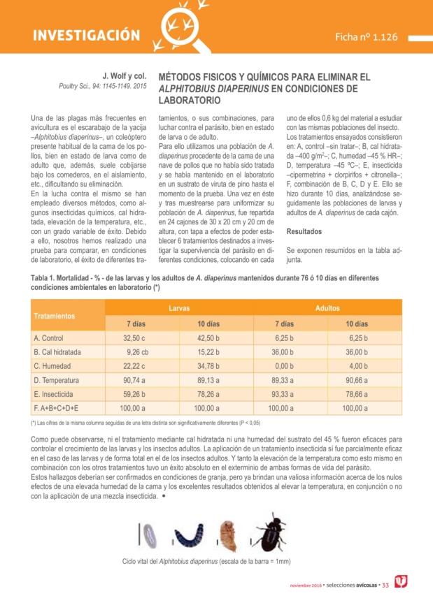 Métodos físicos y químicos para eliminar el ALPHITOBIUS DIAPERINUS en condiciones de laboratorio