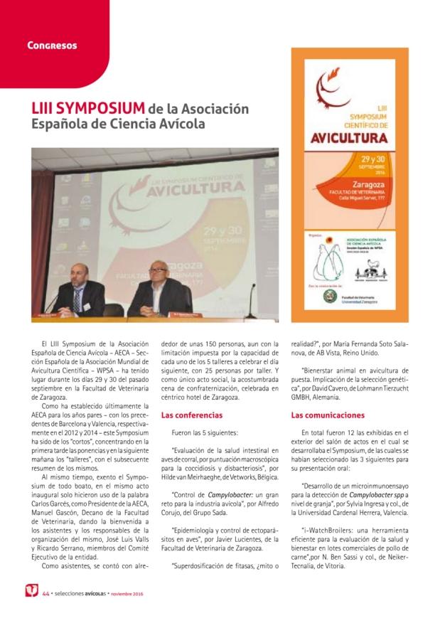 LIII SYMPOSIUM de la Asociación Española de Ciencia Avícola