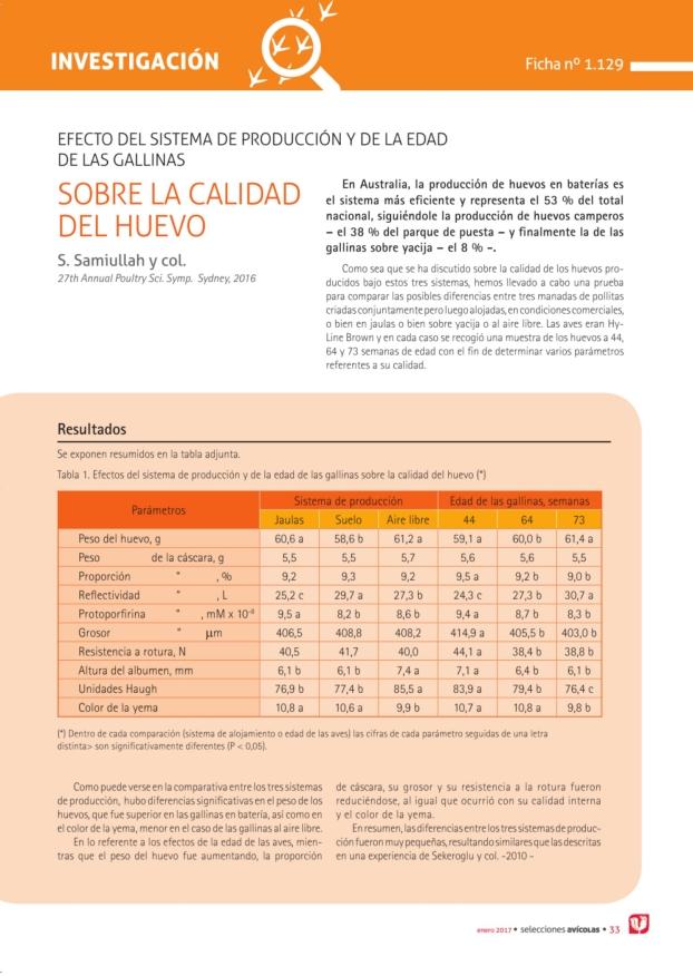 EFECTO DEL SISTEMA DE PRODUCCIÓN Y DE LA EDAD  DE LAS GALLINAS  SOBRE LA CALIDAD  DEL HUEVO