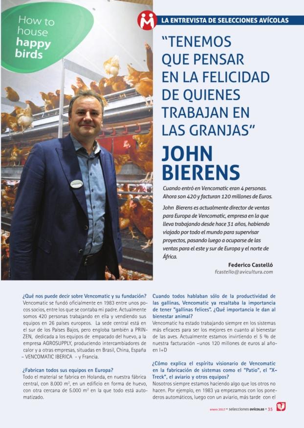 La entrevista de Selecciones avícolas a JOHN BIERENS