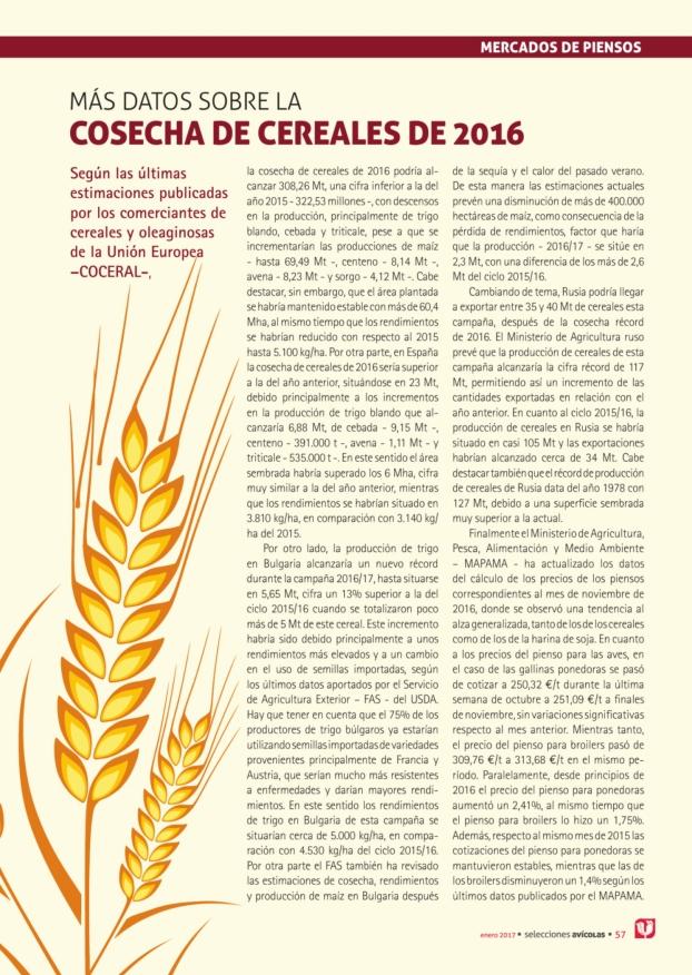 Más datos sobre la cosecha de cereales de 2016