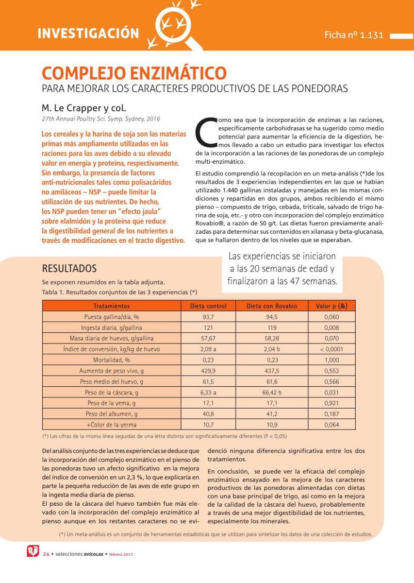 COMPLEJO ENZIMÁTICO PARA MEJORAR LOS CARACTERES PRODUCTIVOS DE LAS PONEDORAS