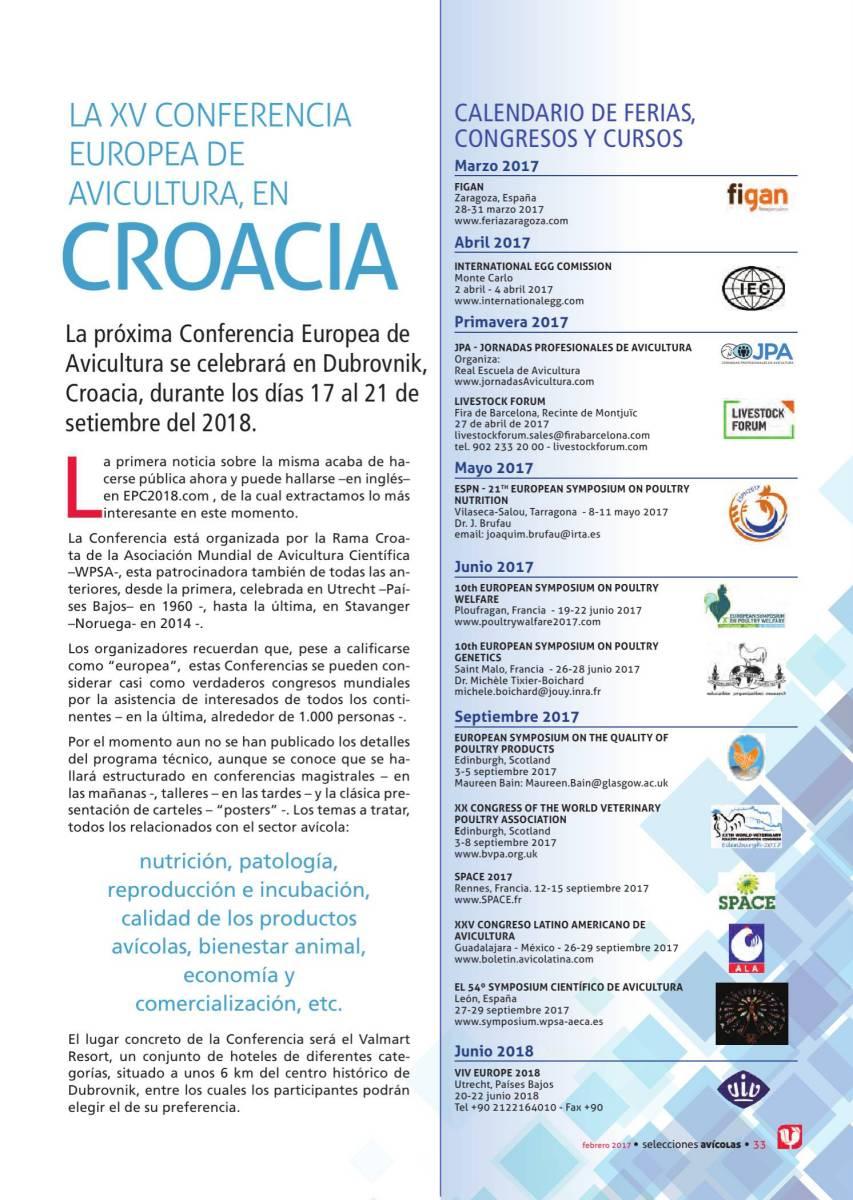 LA XV CONFERENCIA EUROPEA DE AVICULTURA, EN CROACIA