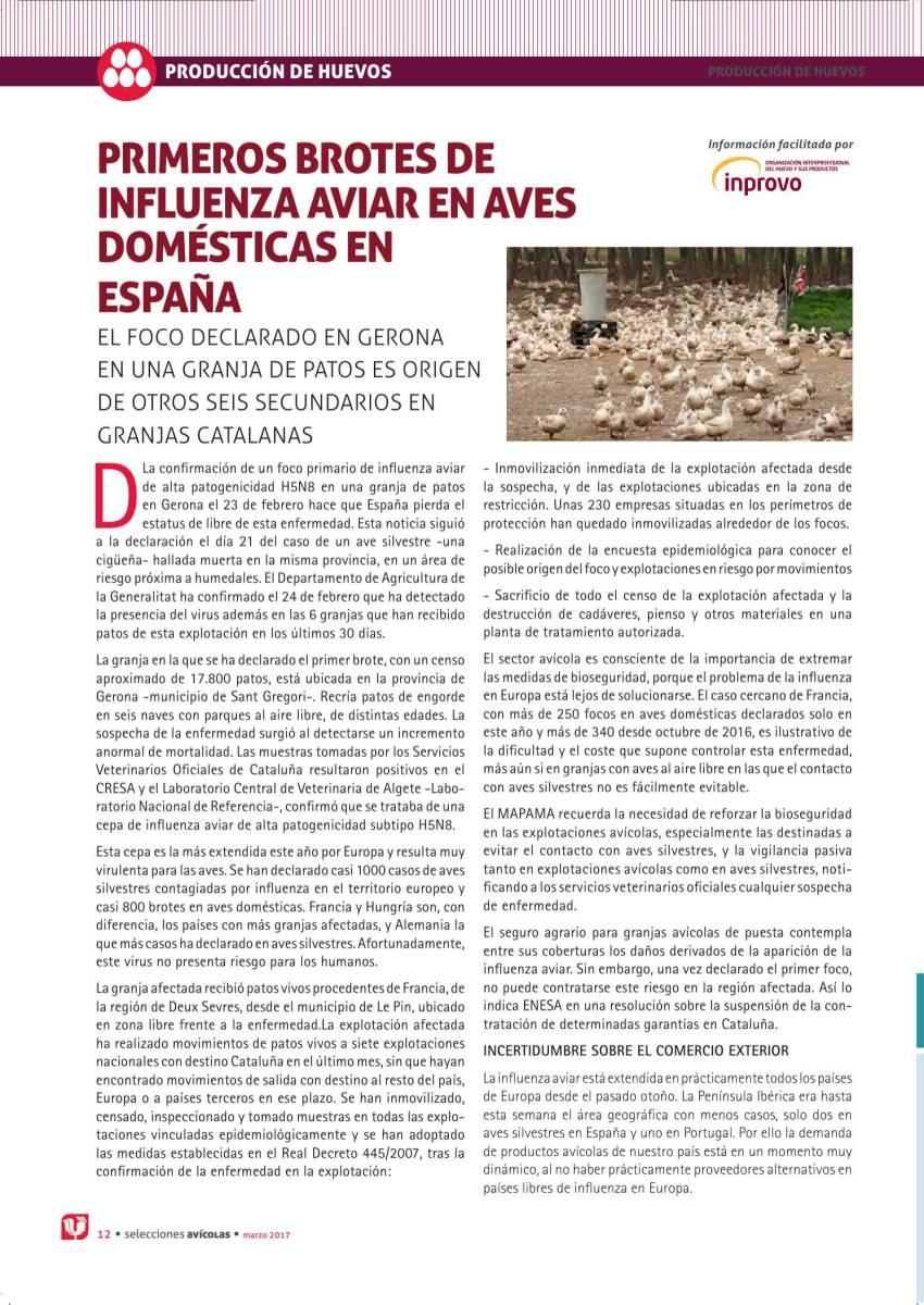 PRIMEROS BROTES DE INFLUENZA AVIAR EN AVES DOMÉSTICAS EN ESPAÑA