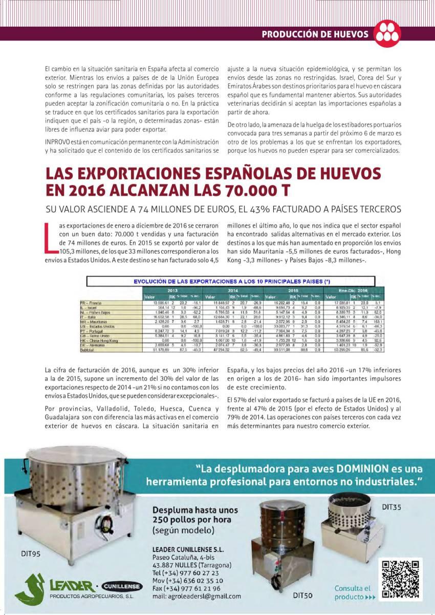 LAS EXPORTACIONES ESPAÑOLAS DE HUEVOS EN 2016 ALCANZAN LAS 70.000 T