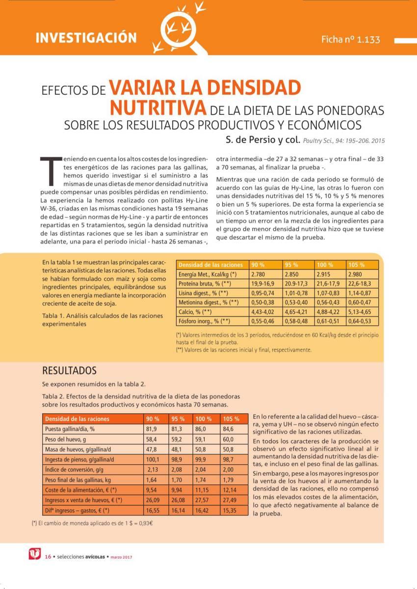 EFECTOS DE VARIAR LA DENSIDAD NUTRITIVA DE LA DIETA DE LAS PONEDORAS SOBRE LOS RESULTADOS PRODUCTIVOS Y ECONÓMICOS