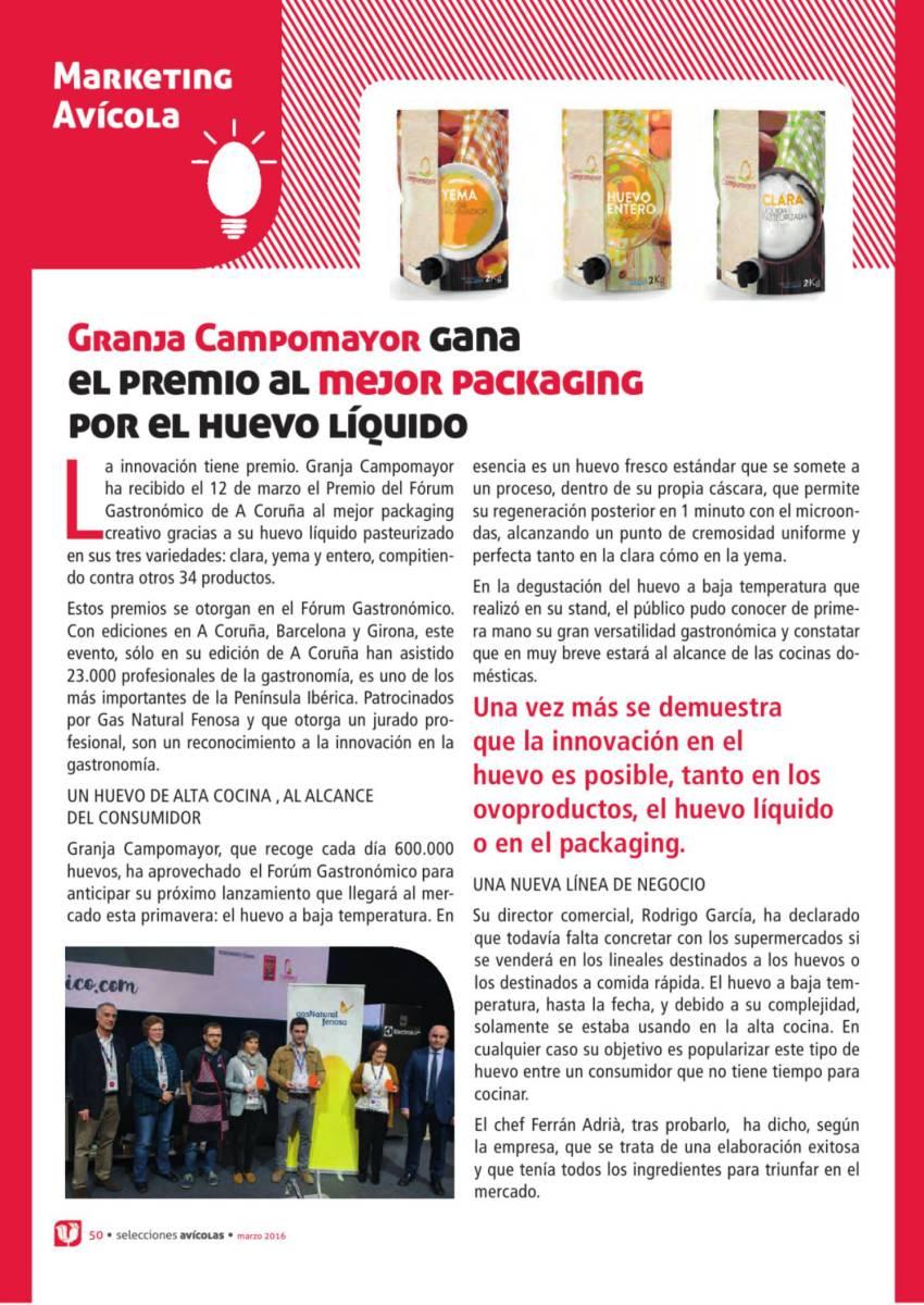 Granja Campomayor gana  el premio al mejor packaging por el huevo líquido