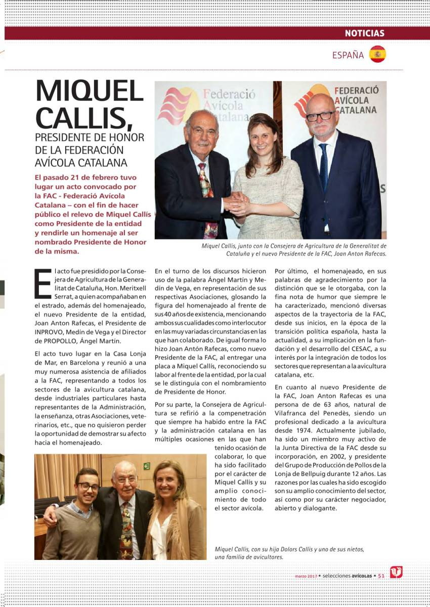 MIQUEL CALLIS, PRESIDENTE DE HONOR DE LA FEDERACIÓN AVÍCOLA CATALANA