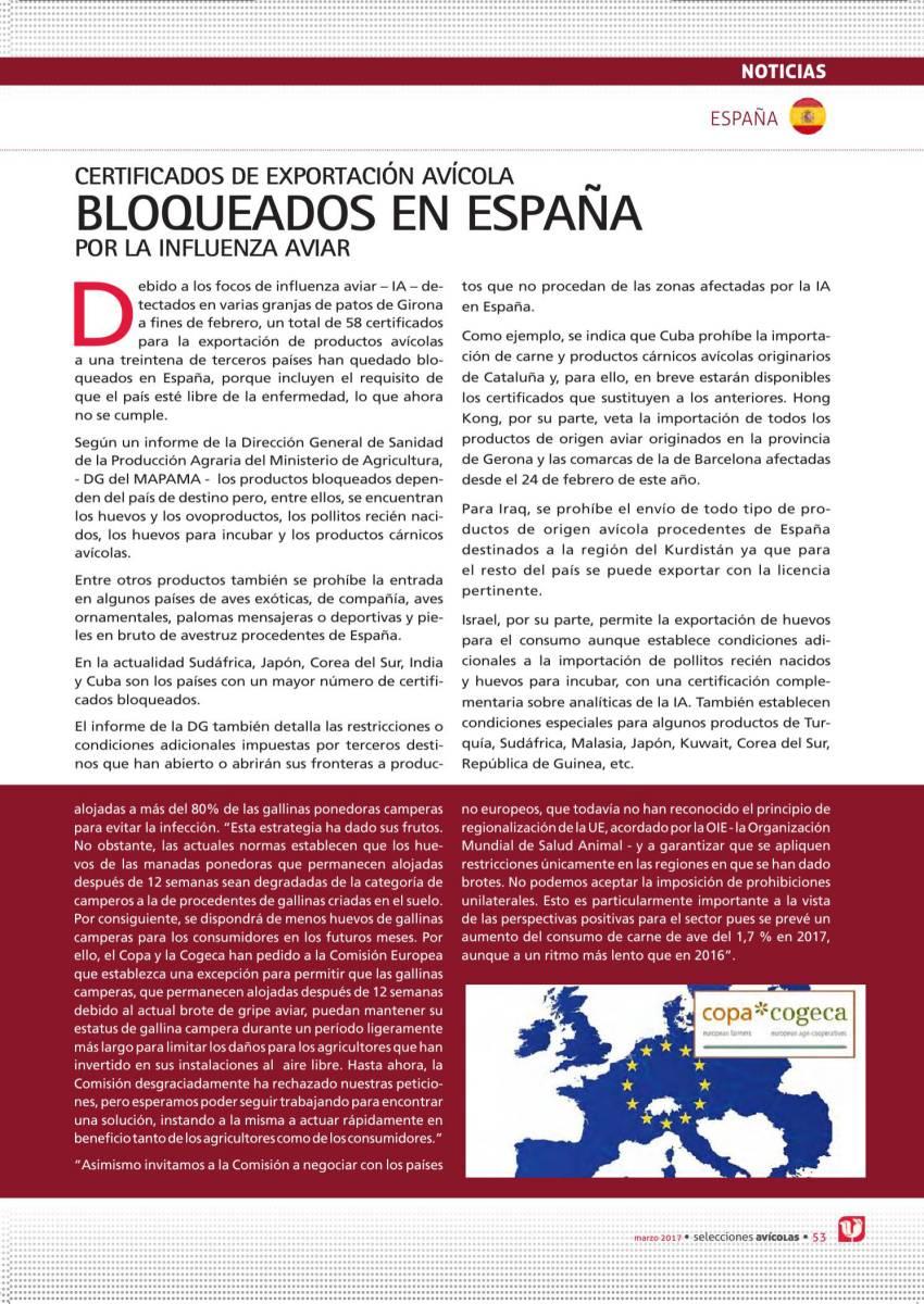 CERTIFICADOS DE EXPORTACIÓN AVÍCOLA BLOQUEADOS EN ESPAÑA POR LA INFLUENZA AVIAR
