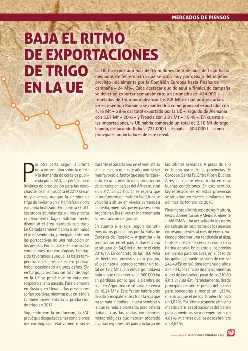 BAJA EL RITMO DE EXPORTACIONES  DE TRIGO  EN LA UE