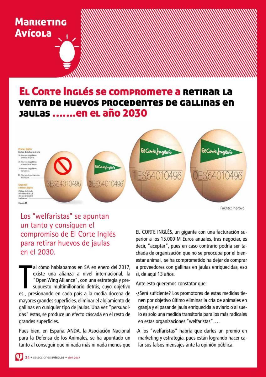 El Corte Inglés se compromete a retirar la venta de huevos procedentes de gallinas en jaulas …….en el año 2030