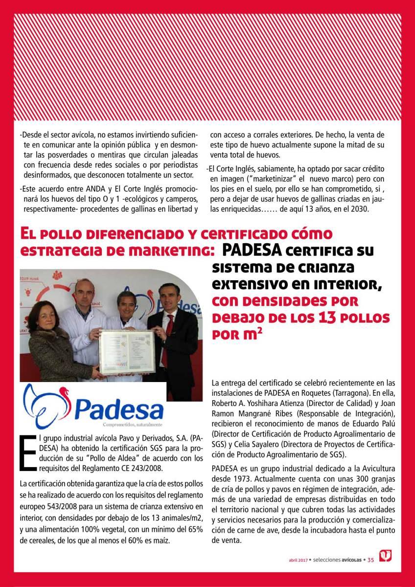 El pollo diferenciado y certificado cómo estrategia de marketing: PADESA certifica su sistema de crianza extensivo en interior, con densidades por debajo de los 13 pollos por m2