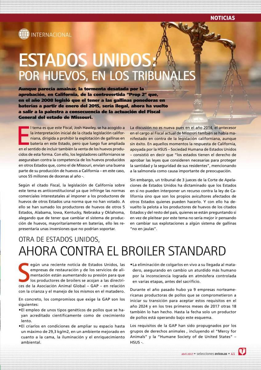 ESTADOS UNIDOS: POR HUEVOS, EN LOS TRIBUNALES
