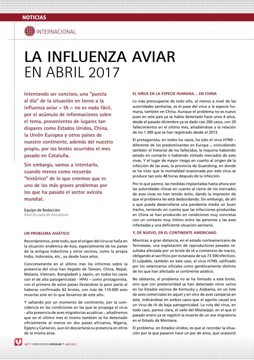 LA INFLUENZA AVIAR  EN ABRIL 2017