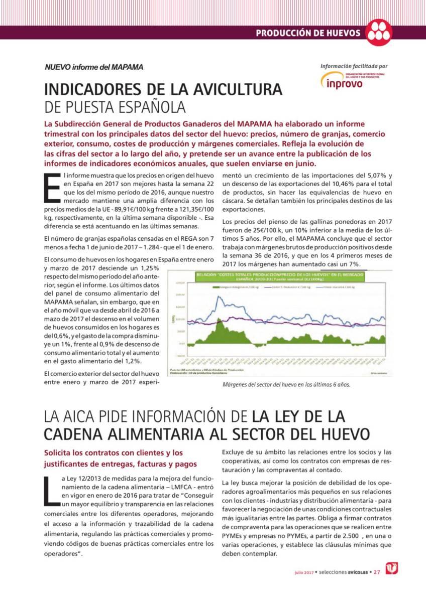 La aica pide información de la ley de la cadena alimentaria al sector del huevo