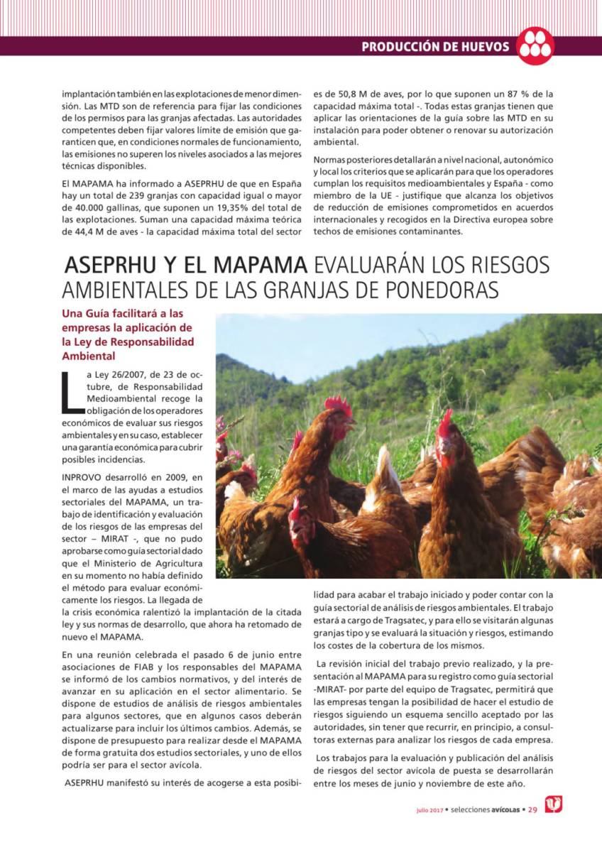 ASEPRHU y el MAPAMA evaluarán los riesgos ambientales de las granjas ponedoras