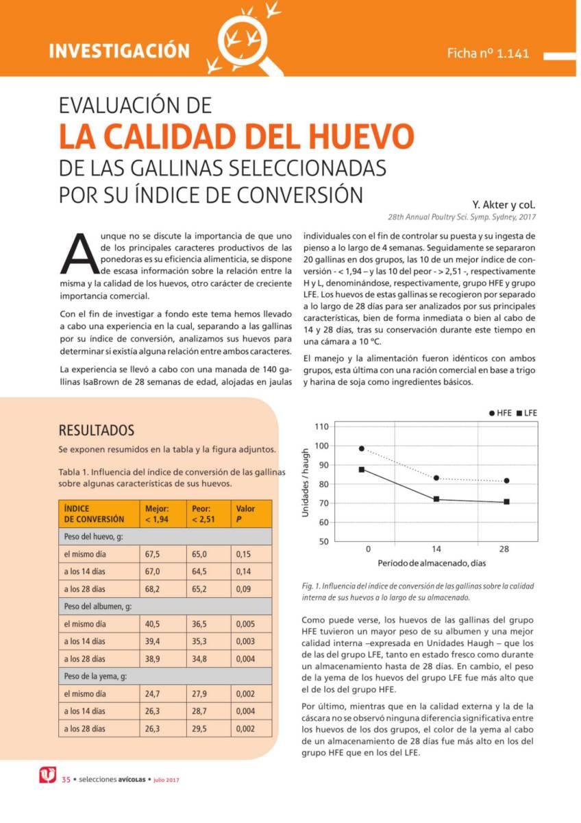 Evaluación de la calidad del huevo de las gallinas seleccionadas por su índice de conversión