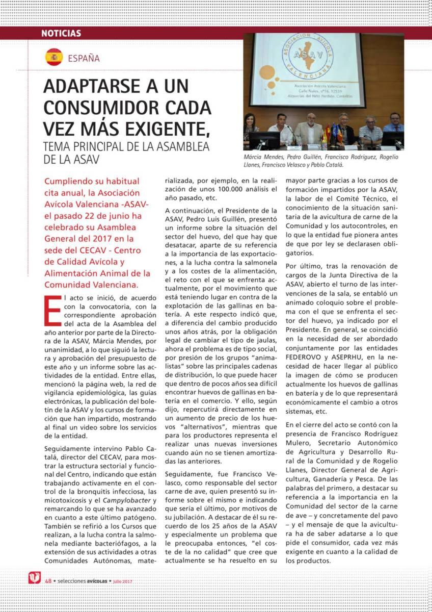 Adaptarse a un consumidor cada vez más exigente, tema principal de la asamblea de la ASAV