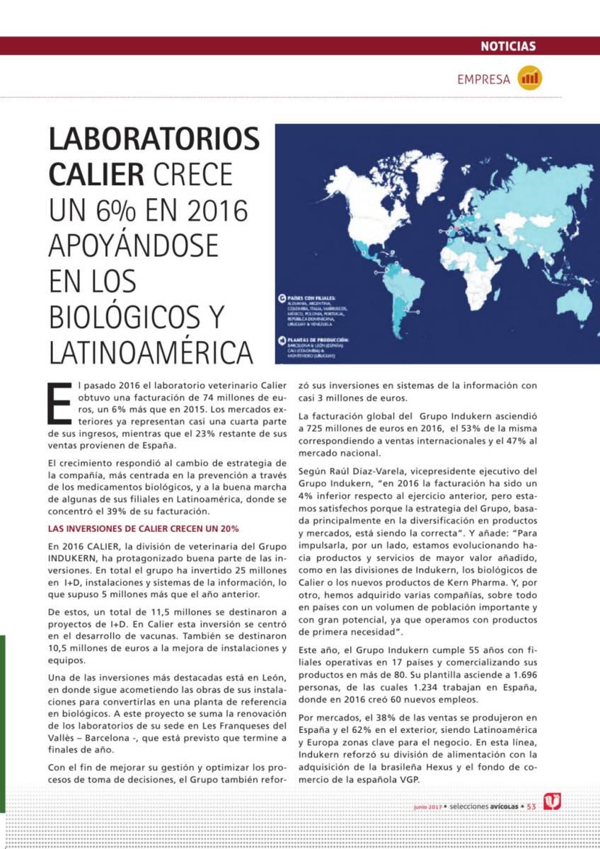 Laboratorios CALIER crece un 6% en 2016 apoyándose en los biológicos y Latinoam érica