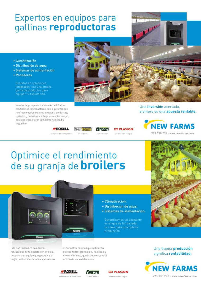 Anuncio: New Farms, expertos en equipos para gallinas reproductoras.  Optimice el rendiimiento de su granja de broilers.