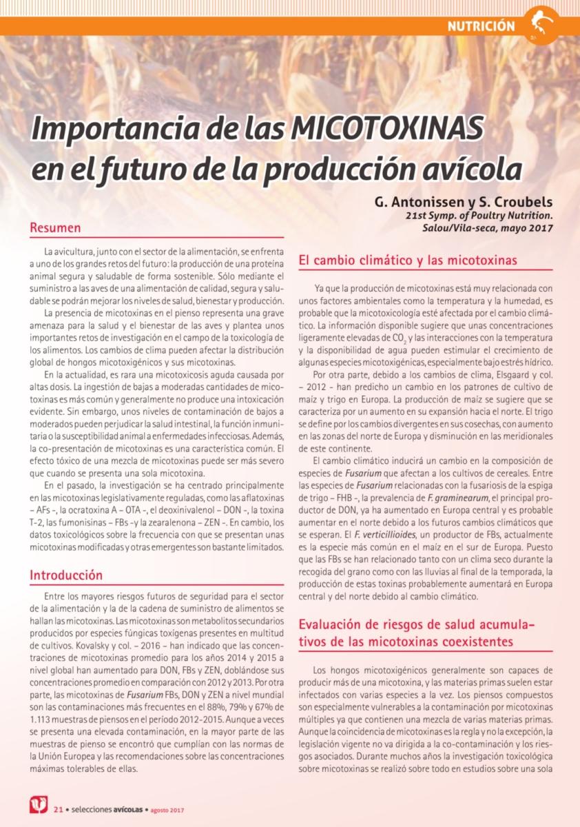 Importancia de las micotoxinas en el futuro de la producción avícola